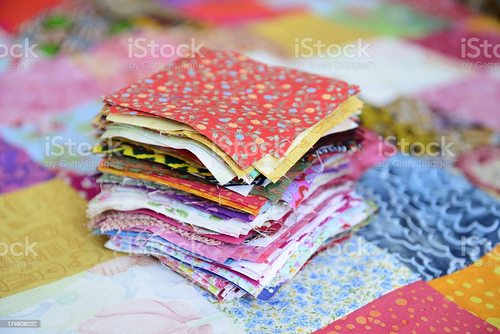 Patches for a patchwork quilt stock photo