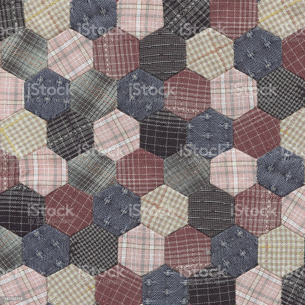 Patchwork Quilt Hexagon pattern stock photo