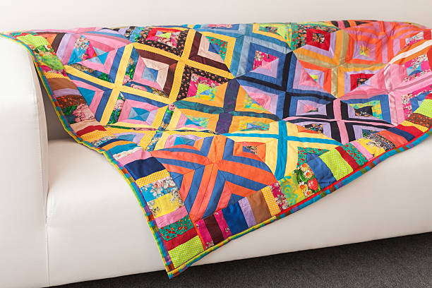 patchwork quilt. part of blanket as background. - quilt stock photos and pictures