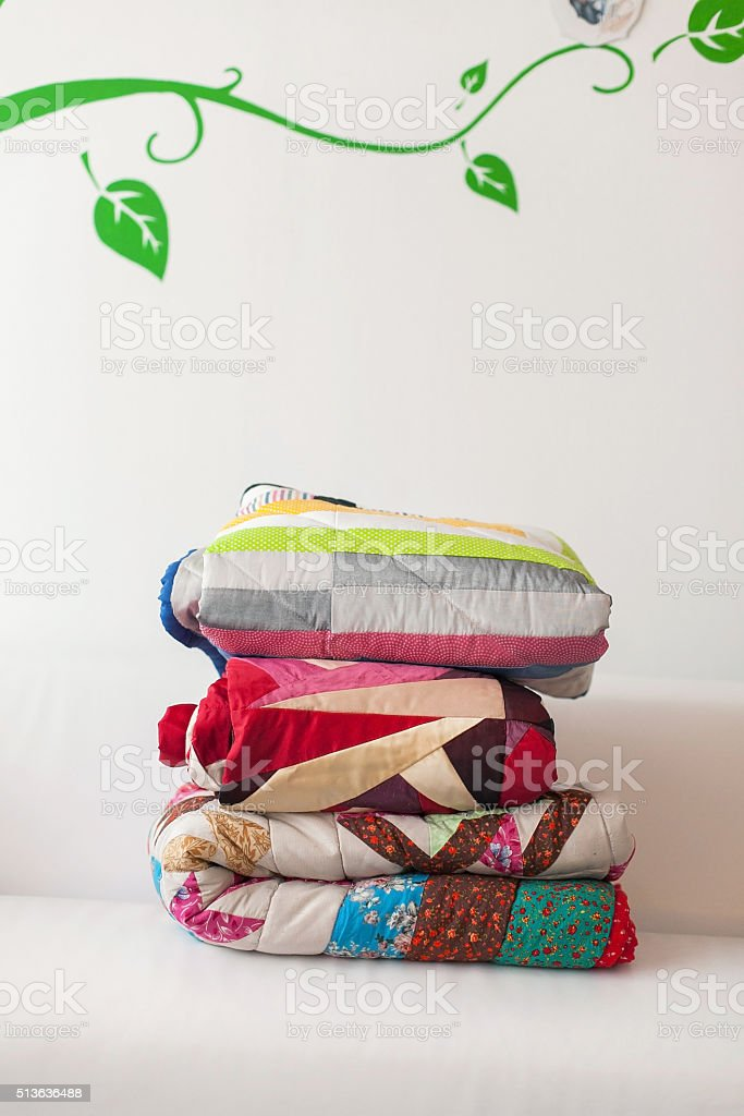 Patchwork quilt stock photo