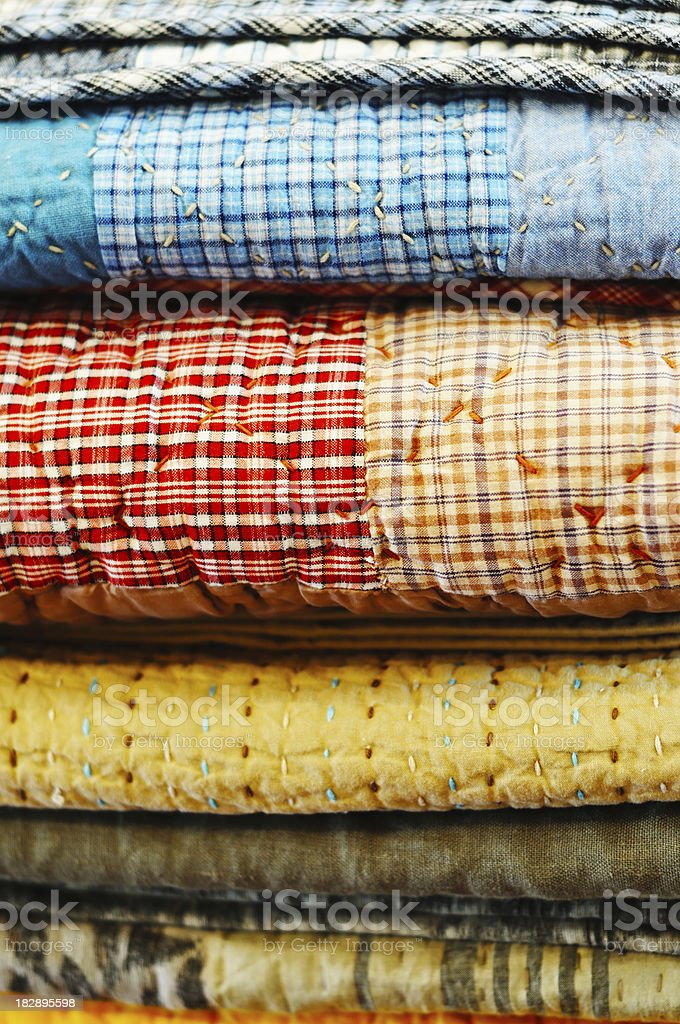 Patchwork quilts stock photo