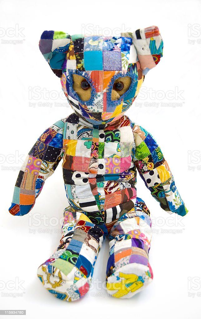 Patchwork Teddy bear. royalty-free stock photo