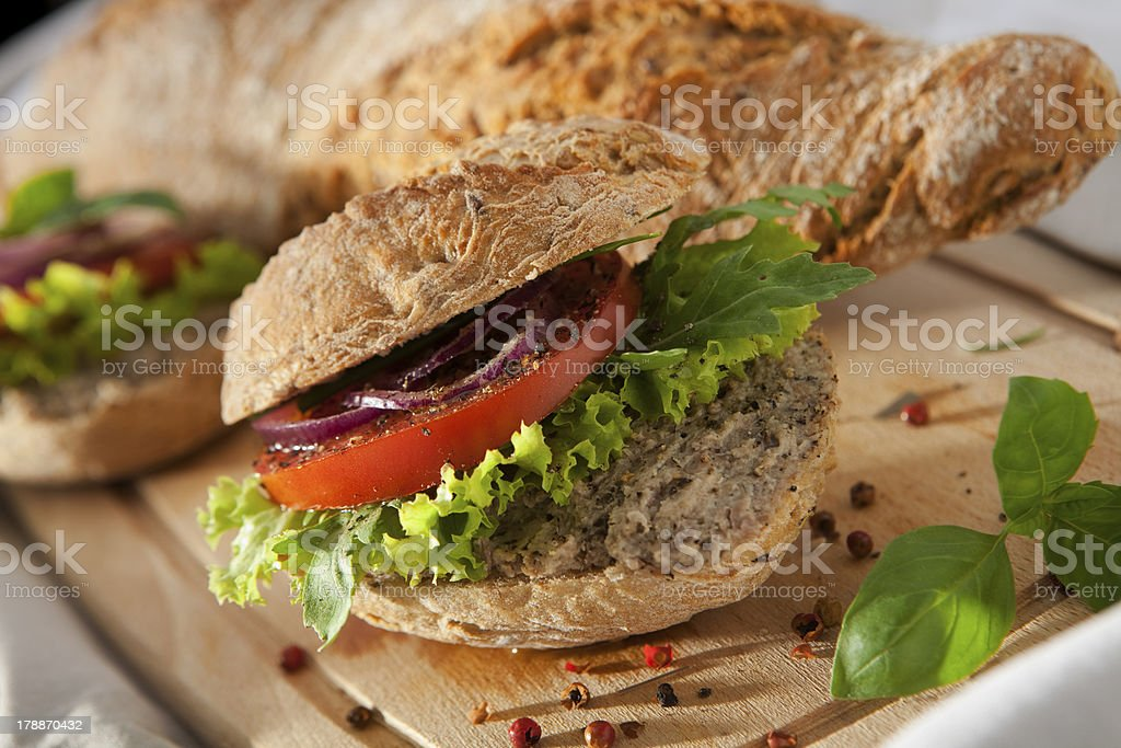 Pate Sandwich on Cutting Desk. royalty-free stock photo