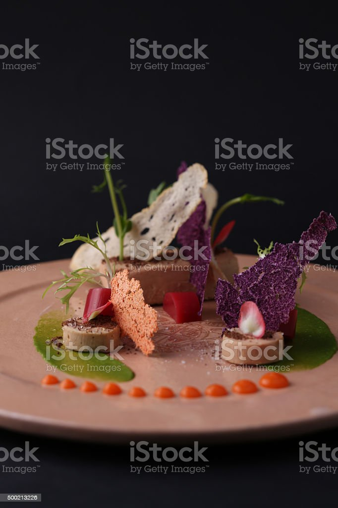 Pate with sauce, toast, jelly and arugula on a plate stock photo