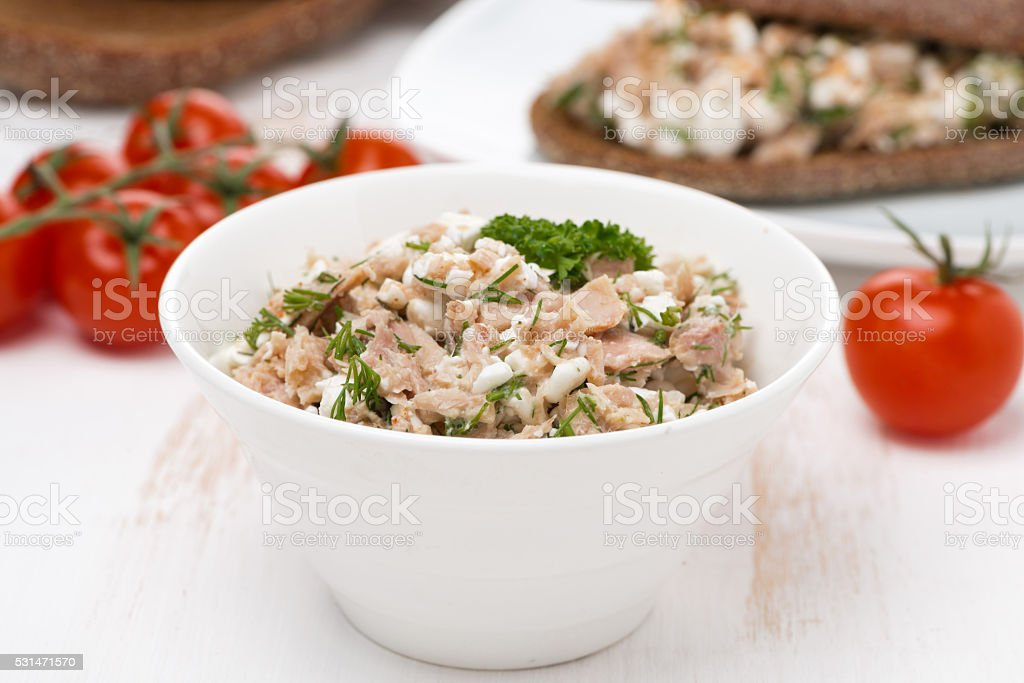 pate with tuna, homemade cheese and herbs stock photo