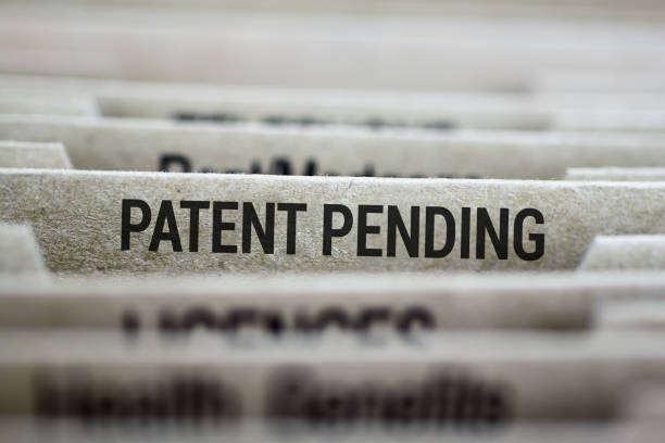 Patent pending files folder stock photo