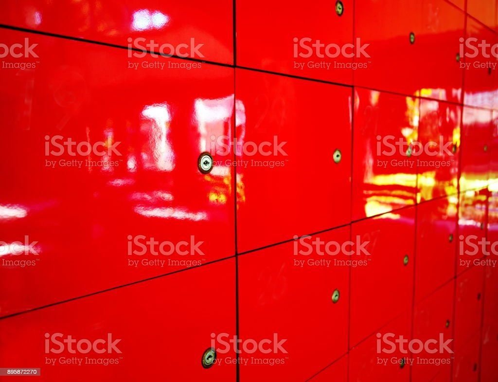patern of mail post box red locker with key background stock photo