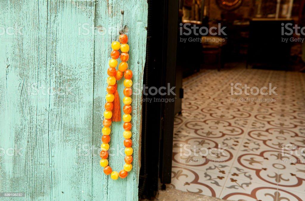 Paternoster on wooden background, Alacati, Turkey stock photo