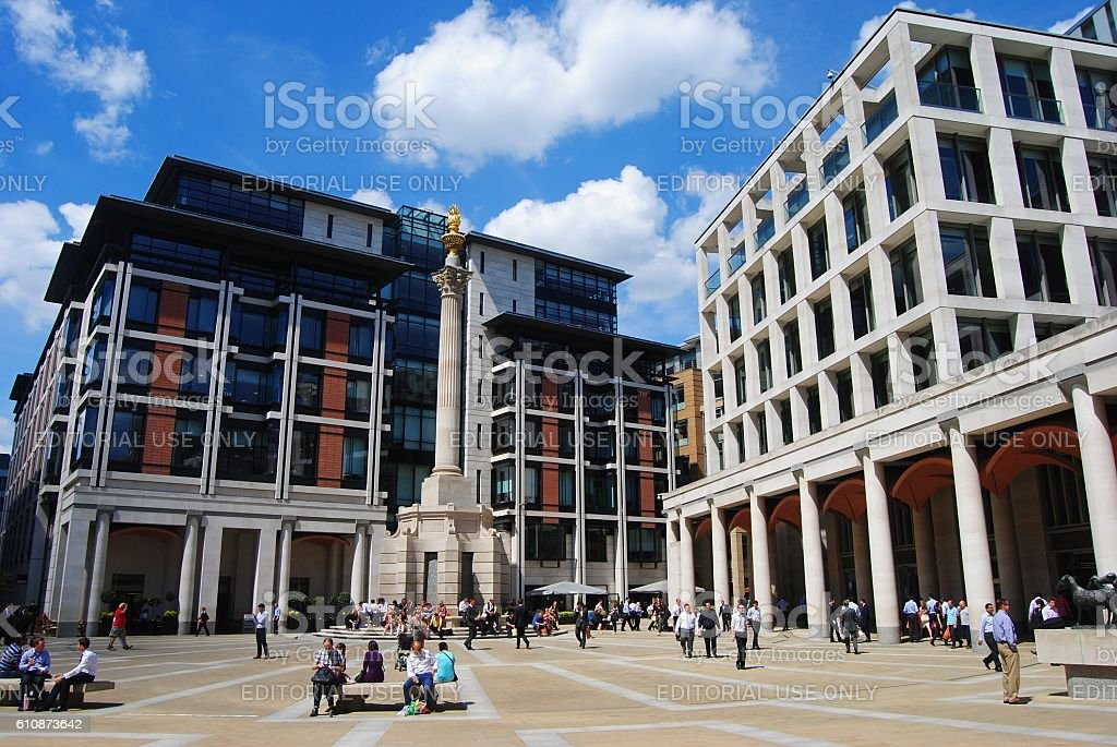 Paternoster Square in London stock photo