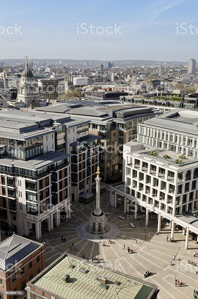 Paternoster Square London, view from St Pauls Cathedral stock photo