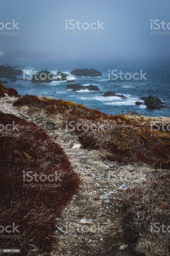 Path along the cost - Louisbourg, Nova Scotia stock photo