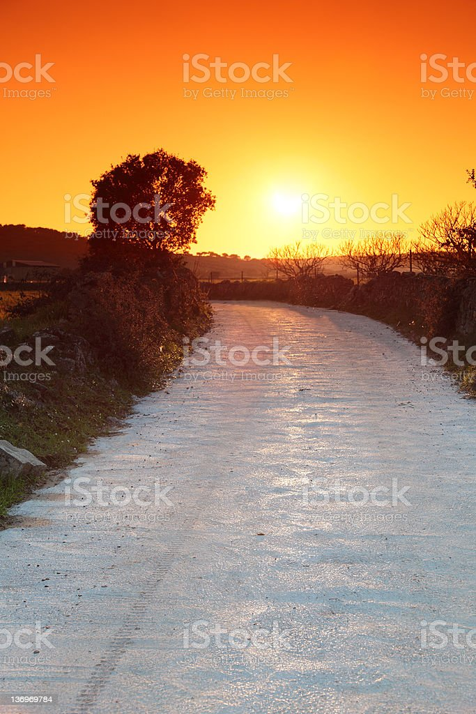 Path and Sunset royalty-free stock photo
