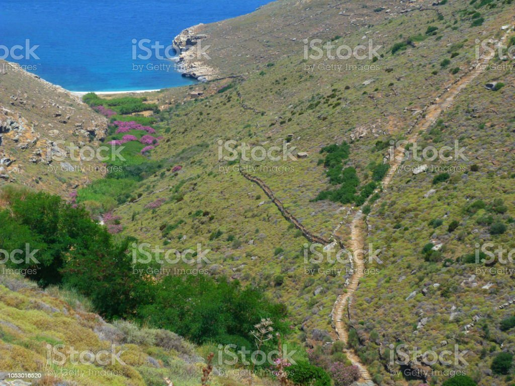 Path, Andros island, Cyclades, Grece stock photo