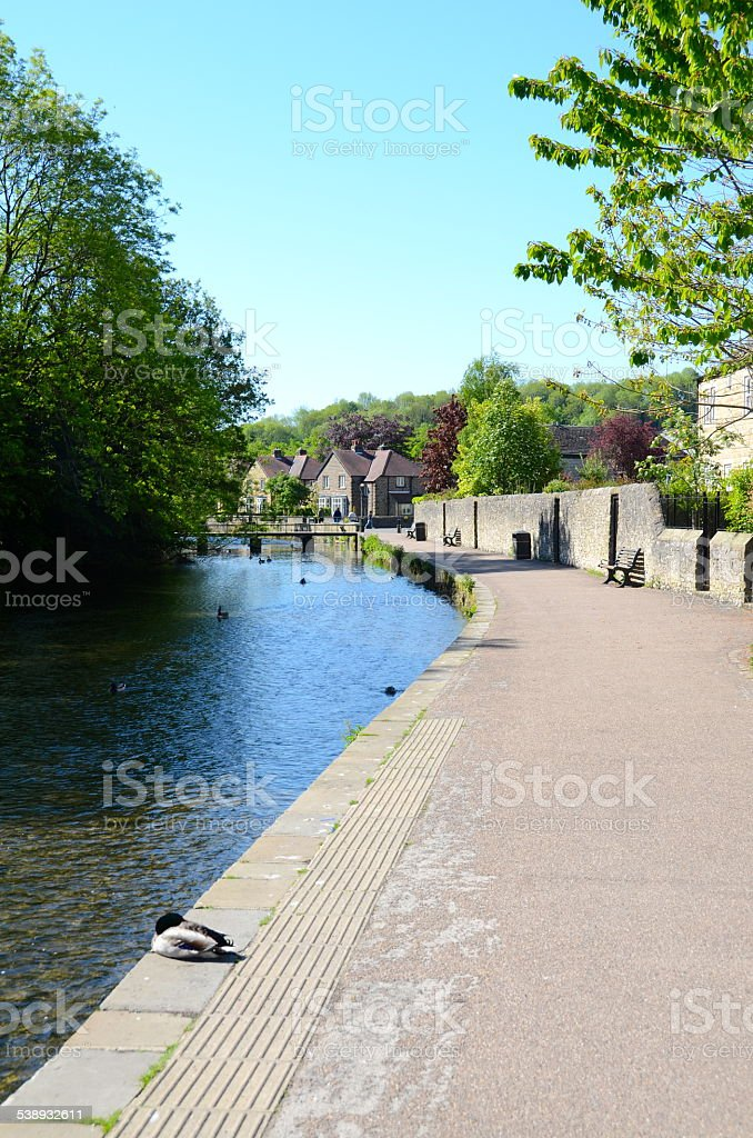 Path by the River Wye at Bakewell stock photo