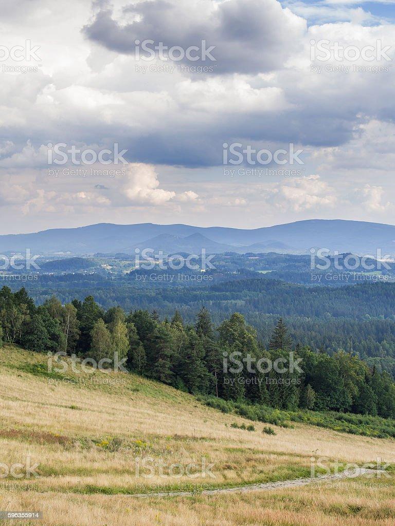Path In A Hilly Woody Landscape, Jelenia Gora, Silesia, Poland royalty-free stock photo