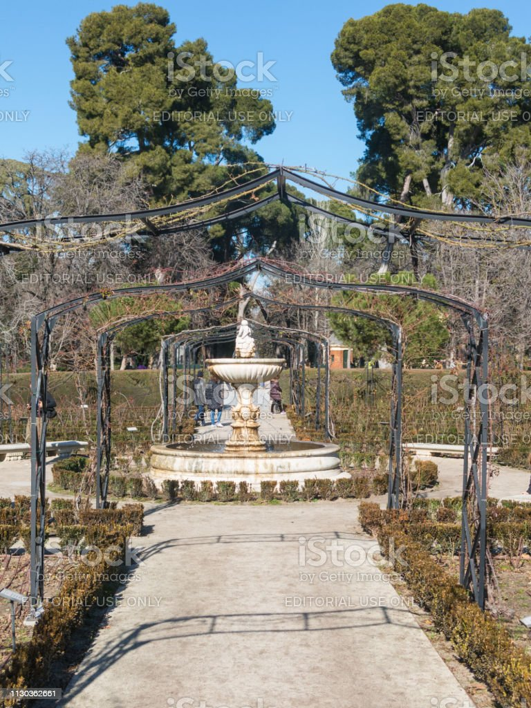 Path in Garden of Roses in Buen Retiro Park. Parque De Las Rosas in...