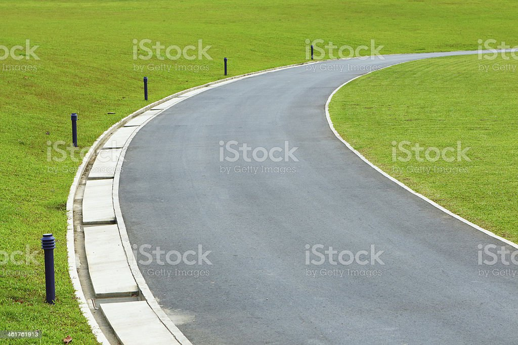 path in golf course stock photo