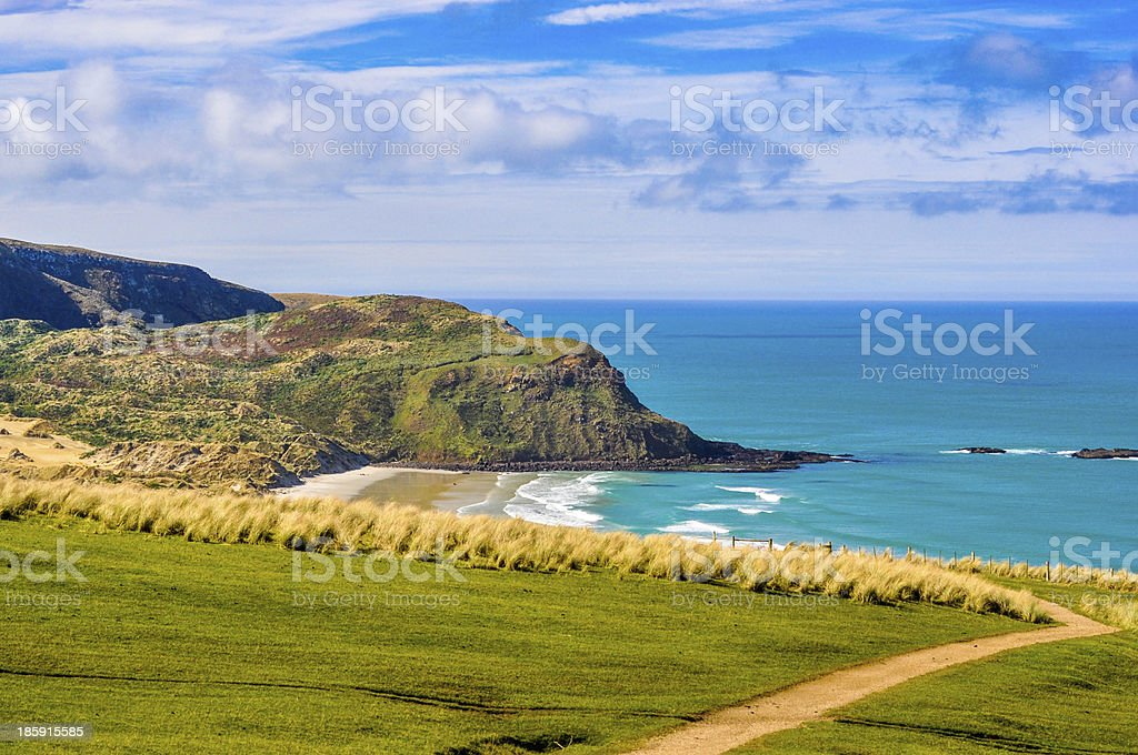 path leading down to sandy beach between cliffs royalty-free stock photo