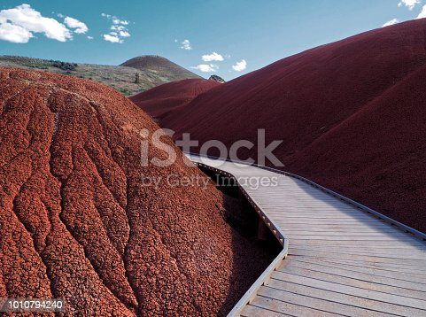 Walking the Boardwalk Through the Red Rocks of the Painted Hills Unit, John Day Fossil Beds