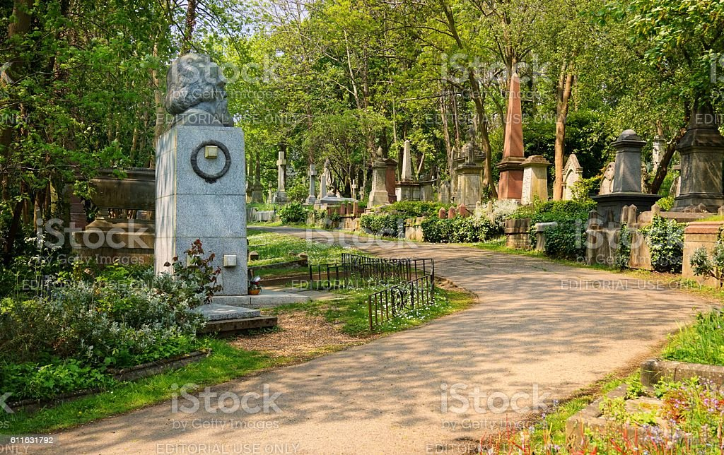 Path leading through the East Cemetery past the memorial to stock photo