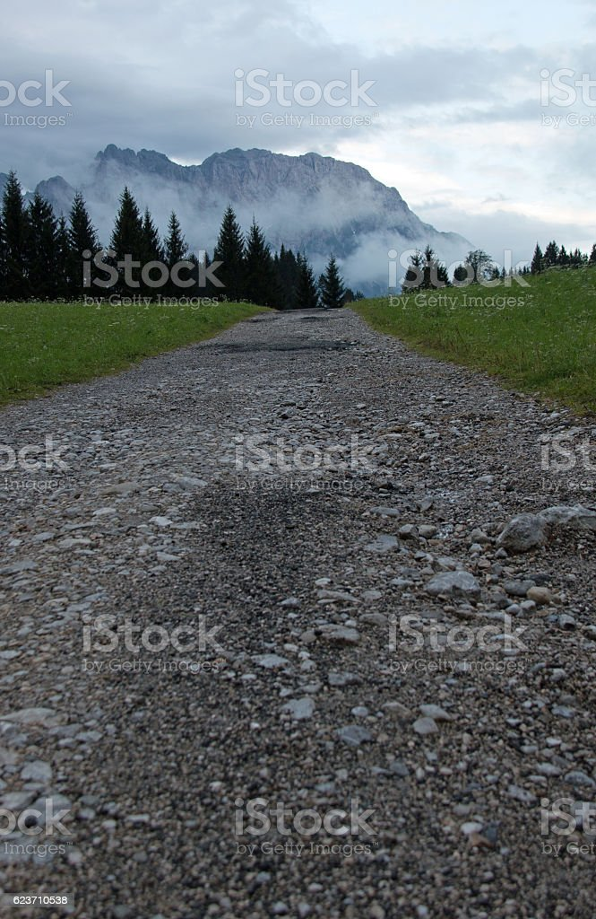 Path Leading to Cloudy Mt. Karwendel stock photo