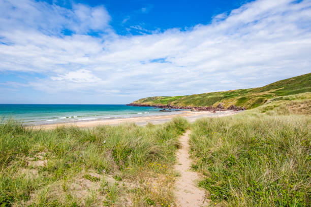 Path leading to scenic beach on sand dunes covered with patches of grass in Freshwater West on beautiful Pembrokeshire coast,South Wales,Uk.Beautiful weather, turquoise sea and blue sky with few clouds in background. stock photo