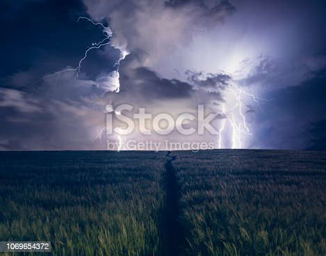 656192770 istock photo Path Leading Up To A Dramatic Lightning Strike In A Field 1069654372