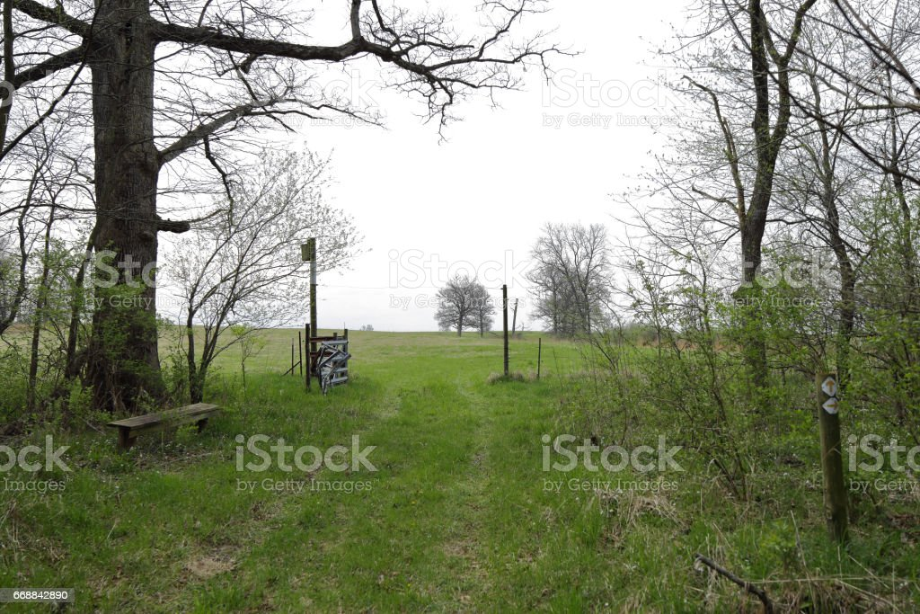 A path leads into the woods from the prairie through a steel gate with a wire overhead that allows an electrified fence to continue operation with out being an obstruction to those wanting to pass stock photo