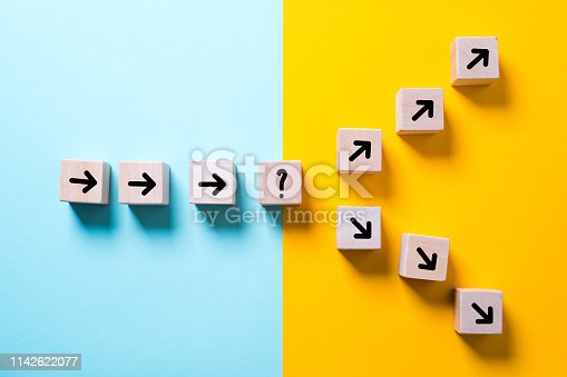 path leads to decision which changes the path in two directions on colorful background