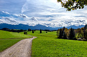Path of land in park, with mountains in the background, Fussen, Germany