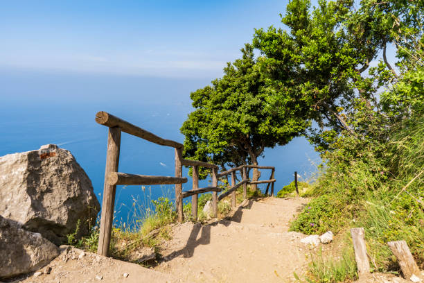 Path of the Gods, amazing hike in the Amalfi Coast in italy stock photo