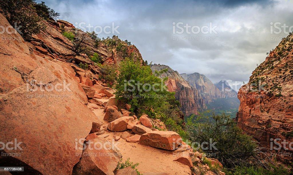 Path on Angels Landing, Zion National Park, Utah royalty-free stock photo