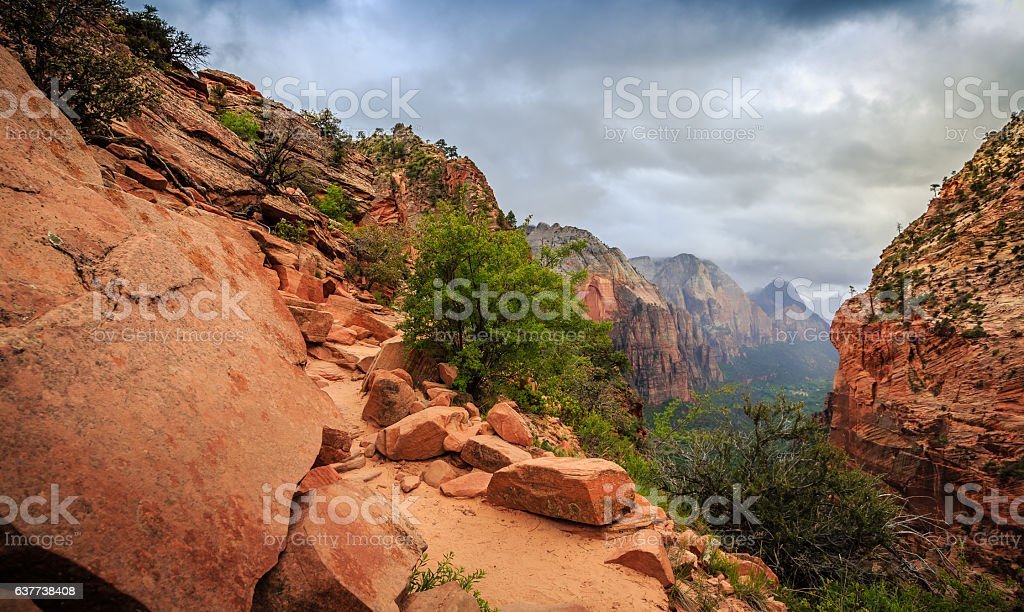 Path on Angels Landing, Zion National Park, Utah stock photo