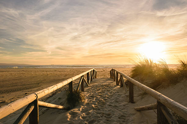 path on sand at sunset, tarifa, spain - atlantic ocean stock pictures, royalty-free photos & images