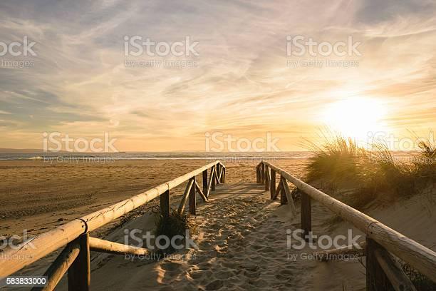 Photo of Path on sand at sunset, Tarifa, Spain