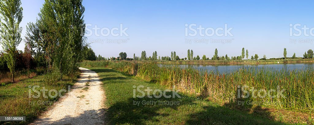 Path on the lake side, Panoramic stock photo
