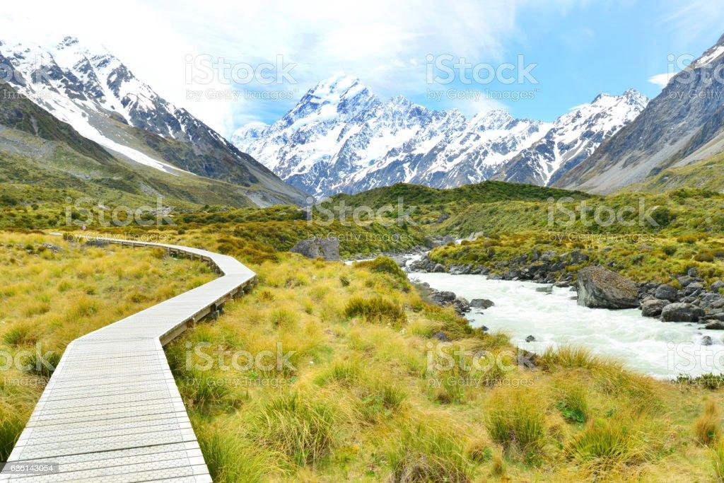 Path on the Mount Cook trek ,Aoraki Mount Cook National Park stock photo