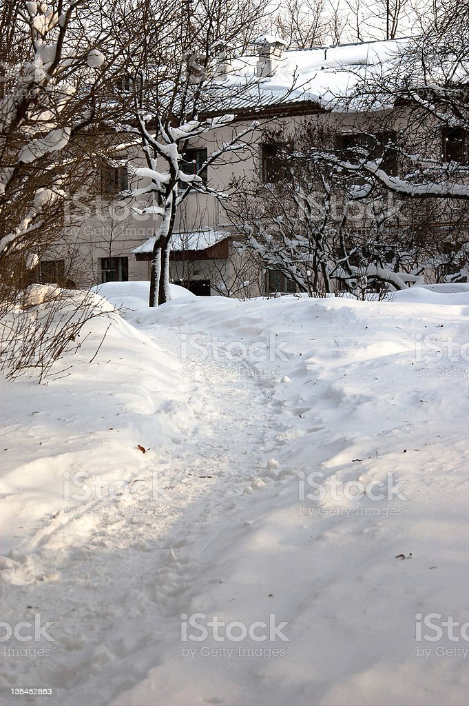 Path on the snow royalty-free stock photo
