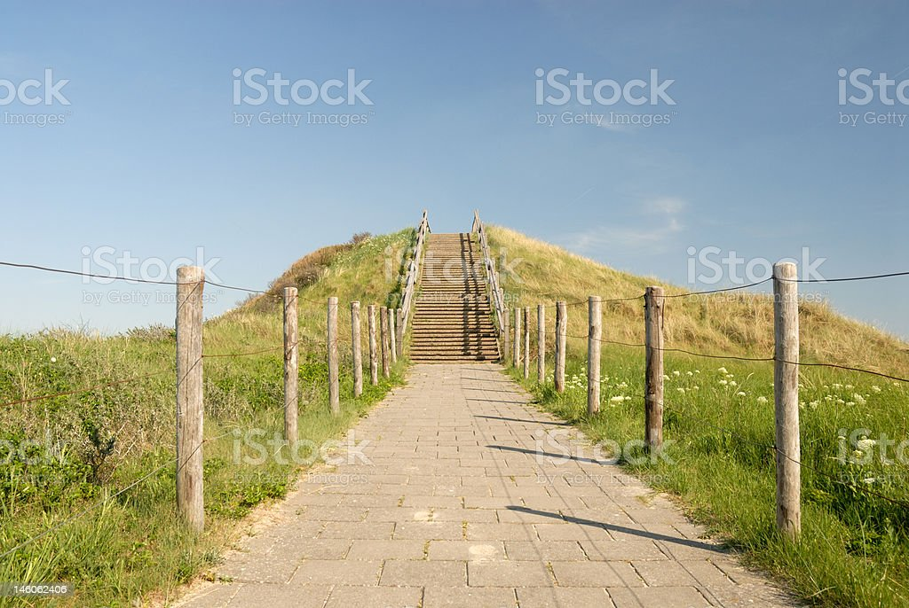 Path on the top of a dune stock photo