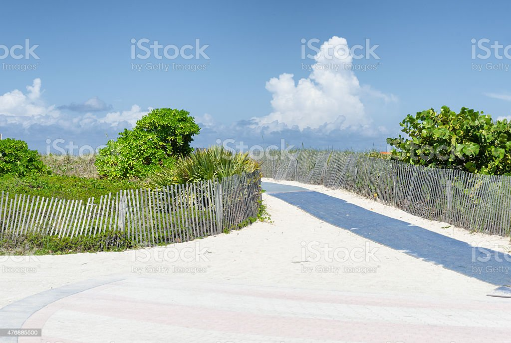 Path over sand dunes to the Atlantic Ocean in Miami stock photo