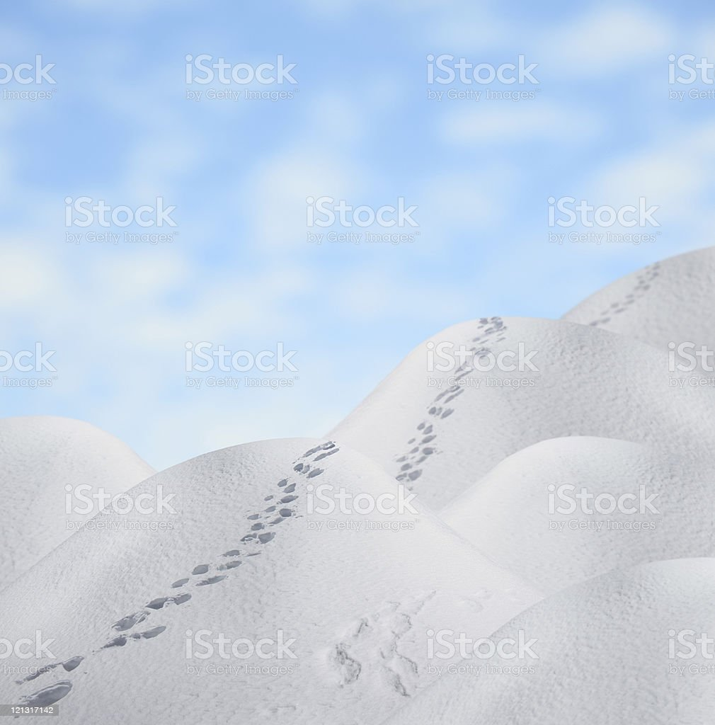 Path Over The Snowy Hills royalty-free stock photo