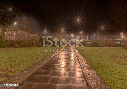 A wet dawn at  Tower Gardens in York.  A path runs straight ahead and the lawns are covered in autumn leaves.  Street lamps light up the steps.