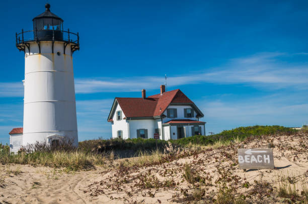 Path the the Lighthouse Beach A hand painted sign points the way to the beach behind the Race Point Lighthouse at the very tip of Cape Cod. provincetown stock pictures, royalty-free photos & images