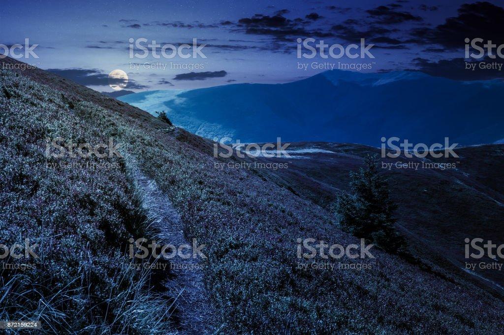 path though mountain hills and ridge at night stock photo