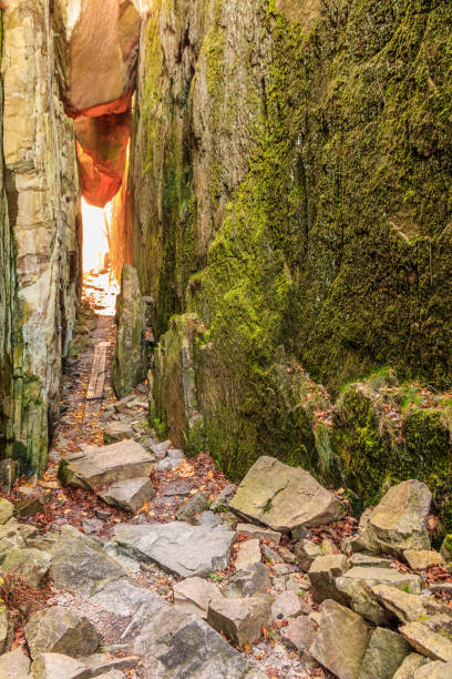 Path through rocks stock photo