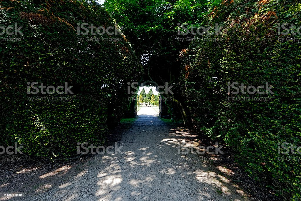Path to an open gate stock photo