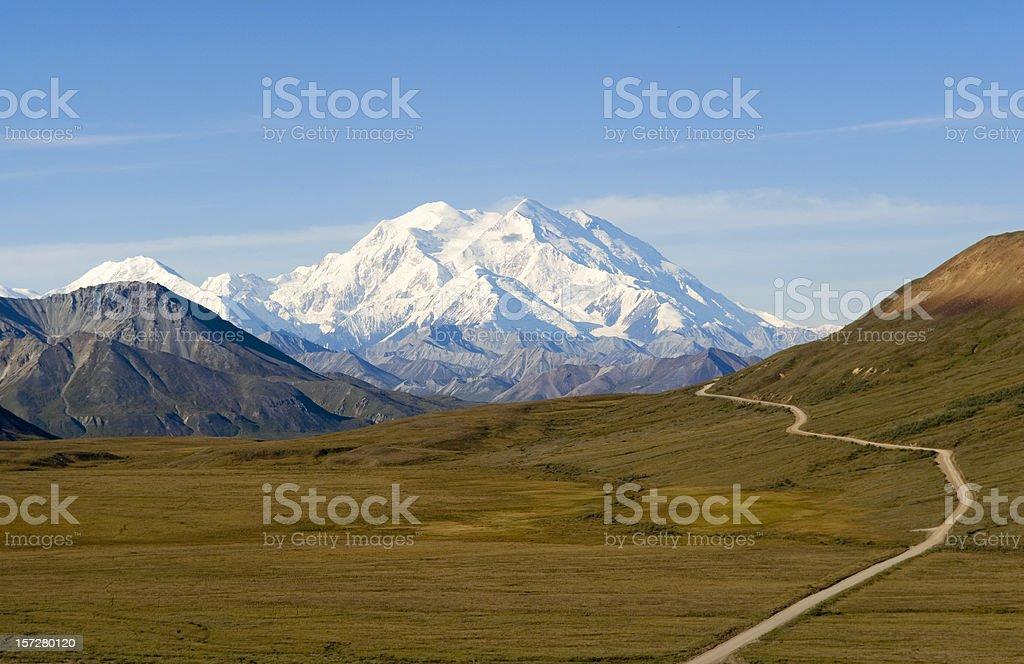 Path to Beautiful Mount McKinley in Alaska stock photo