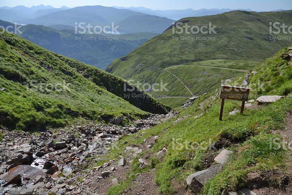 Path to Ben Nevis the highest mountain in the UK stock photo