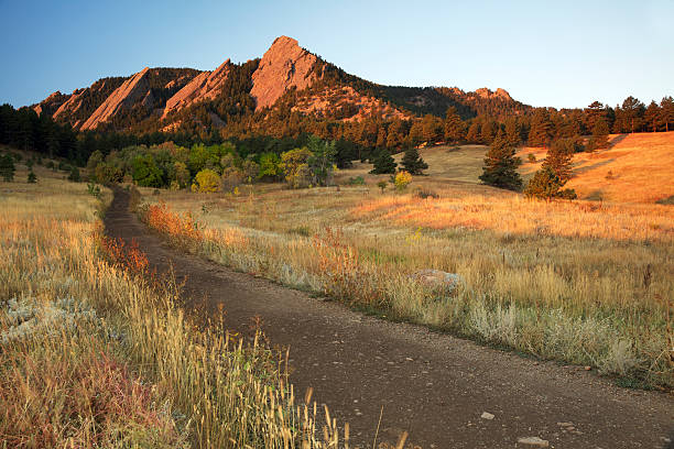 Path to Boulder Colorado Flatirons stock photo
