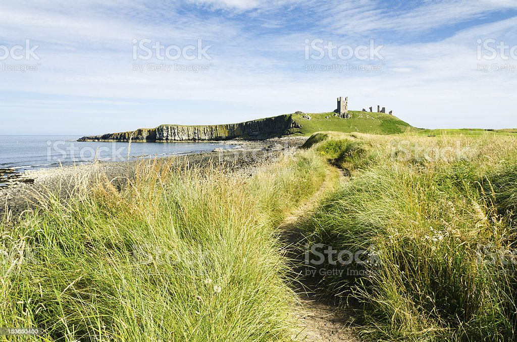 Path to Dunstanburgh  Castle stock photo